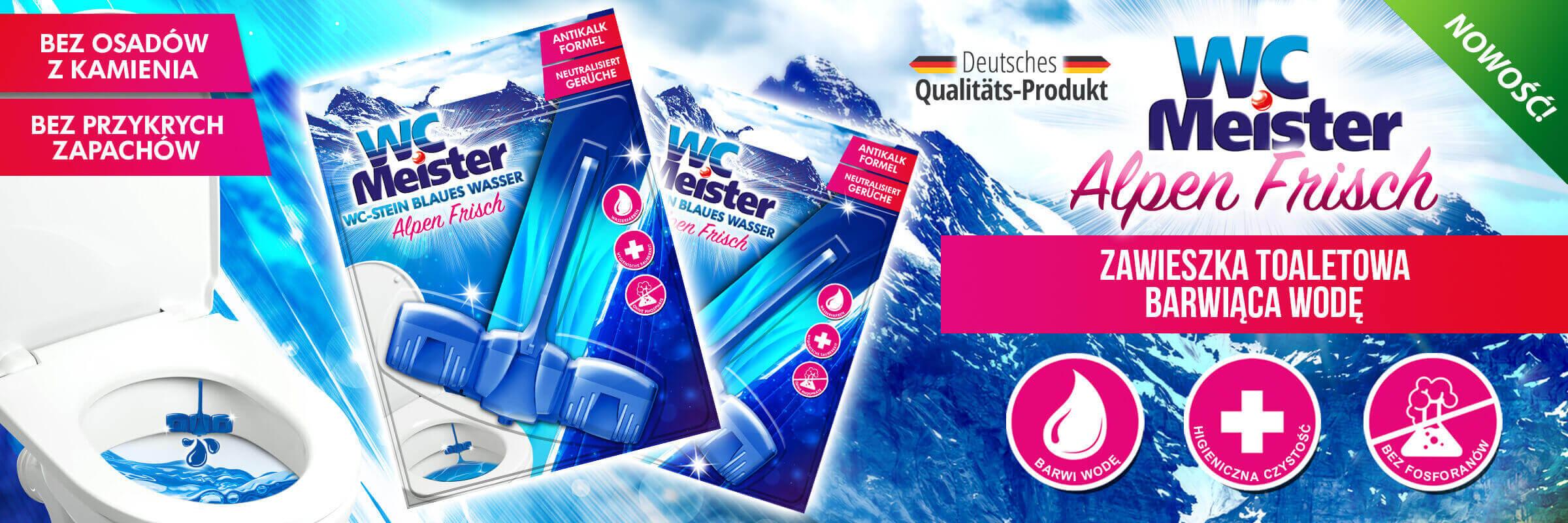 Zawieszka do toalety barwiąca wodę na niebiesko WC Meister Alpen Frisch